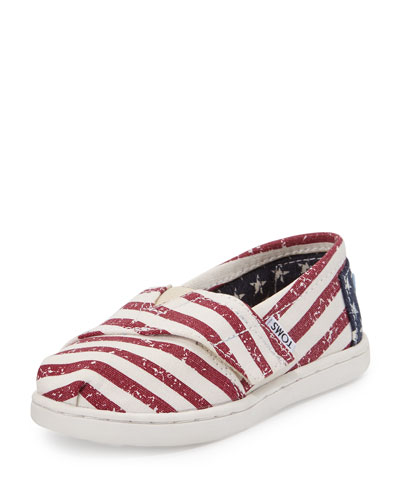 Classic Alpargata Stars and Stripes Canvas Shoe, Red, Tiny
