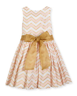 Sleeveless Metallic-Trim Poplin Chevron Dress, Pink, Size 7-14