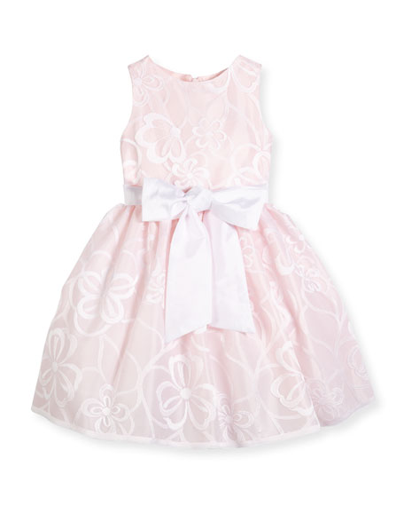 Sleeveless Floral Mesh A-Line Dress, Pink, Size 7-14