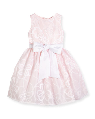 Sleeveless Floral Mesh A-Line Dress, Pink, Size 2-6