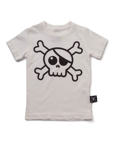 short-sleeve skull jersey tee, white, size 6m-5