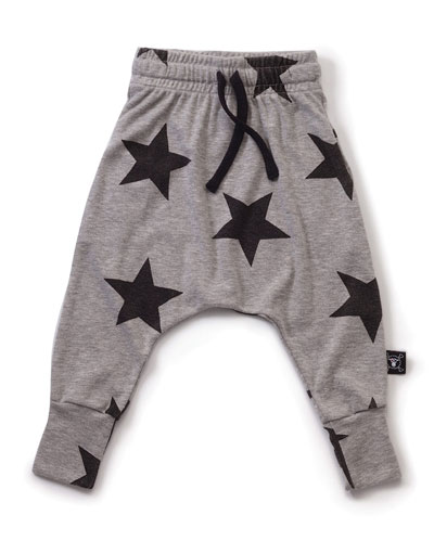 Star-Print Drawstring Jersey Pants, Gray, Size 6M-5