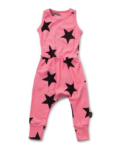 Sleeveless Star-Print Jersey Jumpsuit, Pink, Size 18M-5