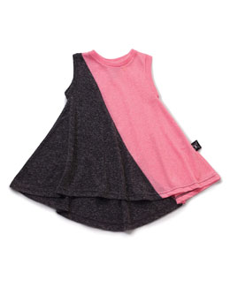 Sleeveless Slub-Jersey Colorblock Dress, Charcoal/Pink, Size 6/7-8/9