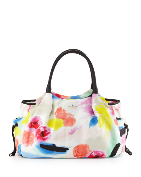 kate spade new yorkstevie leather-trim nylon baby bag,