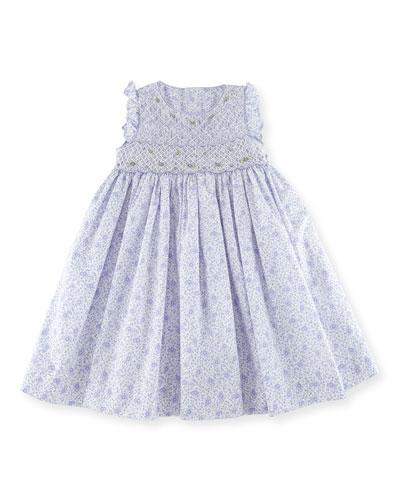 Sleeveless Smocked Lilac-Print Dress, Size 3-6