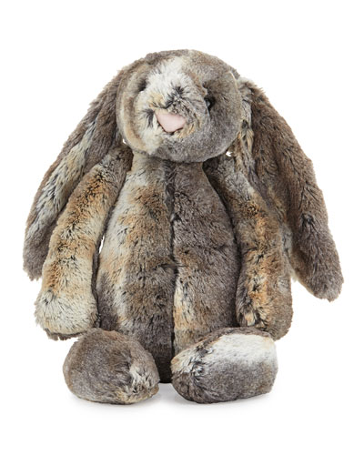 Large Woodland Bunny Stuffed Animal, Gray