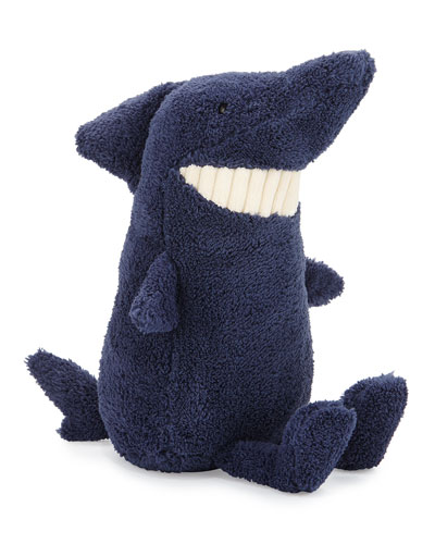 Medium Toothy Shark Stuffed Animal, Blue