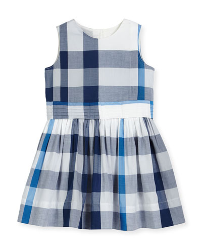 Alenna Sleeveless Smocked Check Dress, Ink Blue, Size 4-14