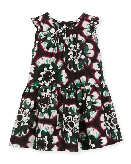 Burberry Yasmine Sleeveless Smocked Floral Dress, Deep Claret,