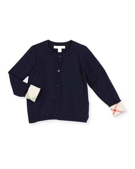 Burberry Rheta Check-Cuff Cotton Cardigan, Navy, Size 4-14