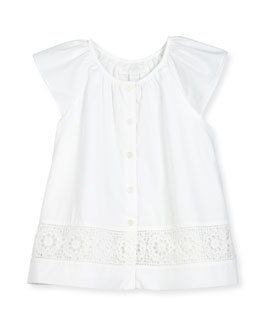 Lully Sleeveless Lace-Trim Summer Blouse, White, Size 4-14