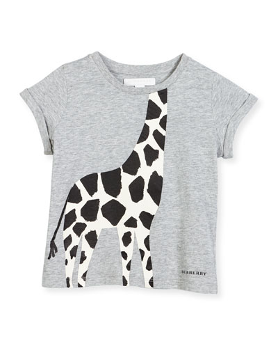 Cotton Giraffe Jersey Tee, Gray Melange, Size 4-14