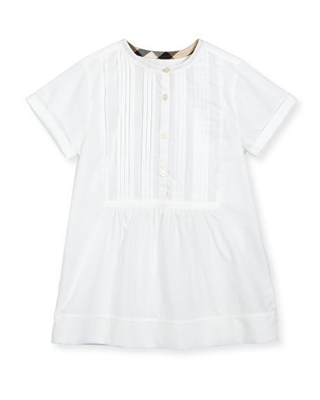 Burberry Dandy Short-Sleeve Beach Tunic, White, Size 4-14