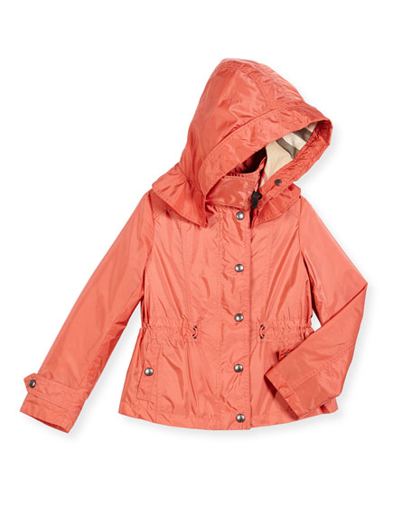 Burberry Marylesdale Hooded Snap-Front Jacket, Bright Copper
