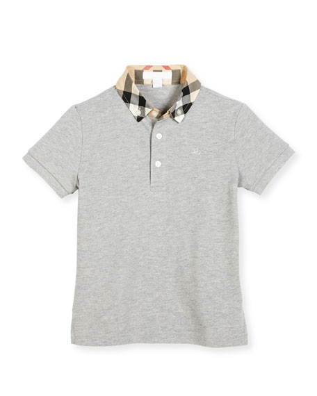 Burberry William Check-Collar Pique Polo Shirt, Pale Gray