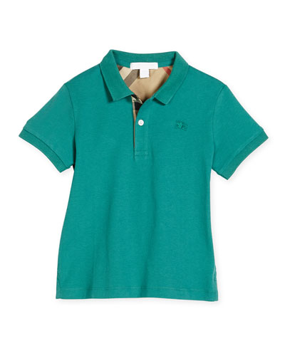 Mini PPM Jersey Polo Shirt, Storm Green, Size 4-14