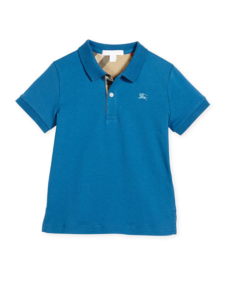 Burberry Mini PPM Jersey Polo Shirt, Lupin Blue, Size 4-14
