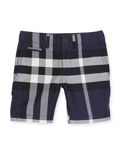 Tristen Check Lightweight Chino Shorts, Navy, Size 4-14