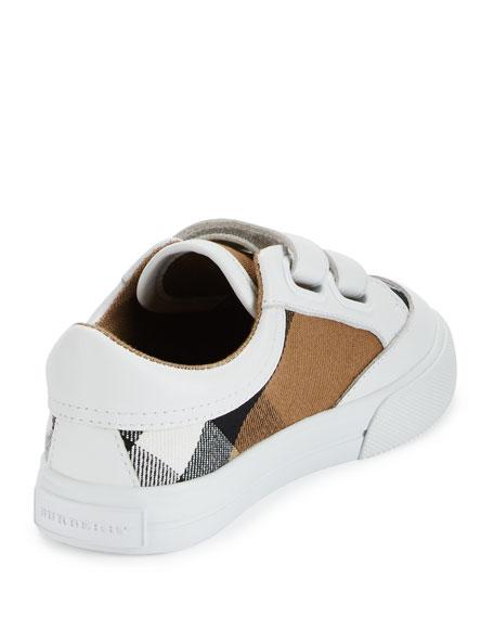 Heacham Check Canvas Sneaker, White/Tan, Toddler Sizes 7-10