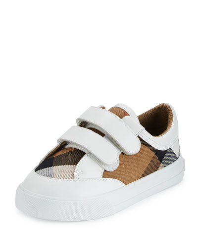 Heacham Check Canvas Sneaker, White/Tan, Toddler