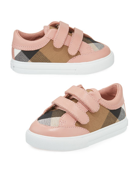 Burberry Heacham Check Canvas Sneaker, Peony Rose/Tan, Infant