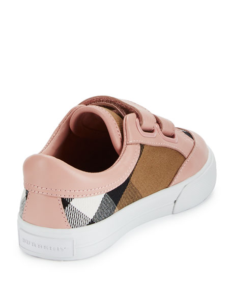 Heacham Check Canvas Sneaker, Peony Rose/Tan,  Toddler