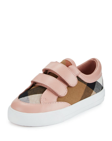 Burberry Heacham Check Canvas Sneaker, Peony Rose/Tan, Toddler