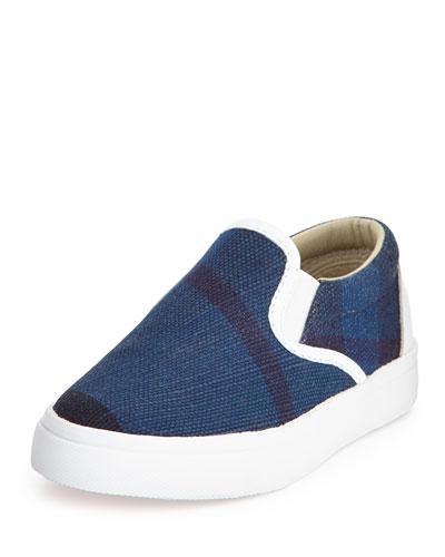 Linus Check Canvas Skate Shoe, Ultramarine Blue, Toddler