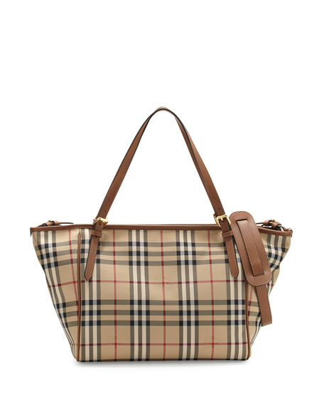 Burberry Horseferry Check Tote Diaper Bag, Tan