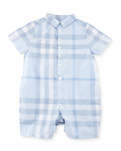 Kirk Check Collared Shortall, Ice Blue, Size 3-24 Months