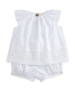 Lulla Poplin Lace-Trim Top w/ Bloomers, White, Size 3-24 Months