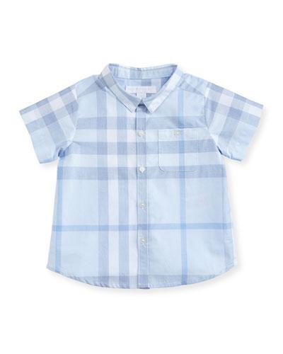 Tyson Short-Sleeve Cotton Check Shirt, Light Blue, Size 3-24 Months