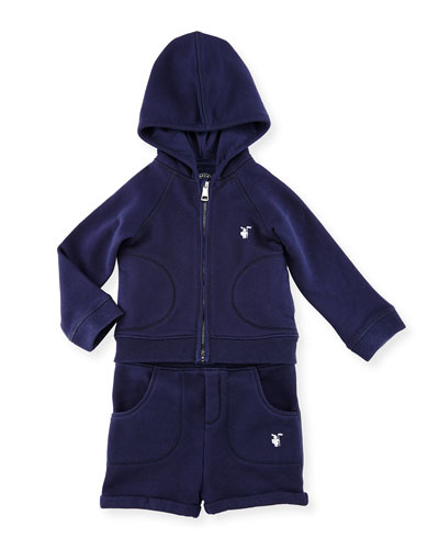 Quinten Hooded Sweatshirt w/ Shorts, Navy, Size 6M-3