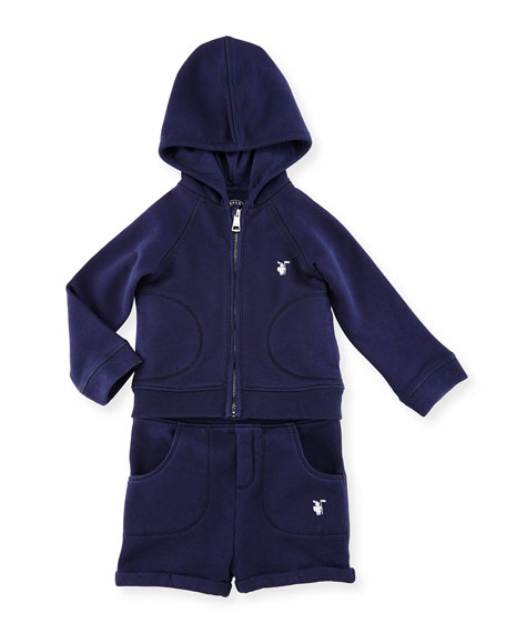 BurberryQuinten Hooded Sweatshirt w/ Shorts, Navy, Size 6M-3