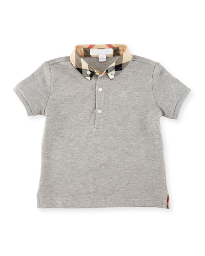 Mini William Check-Collar Pique Polo Shirt, Pale Gray Melange, Size 6M-3