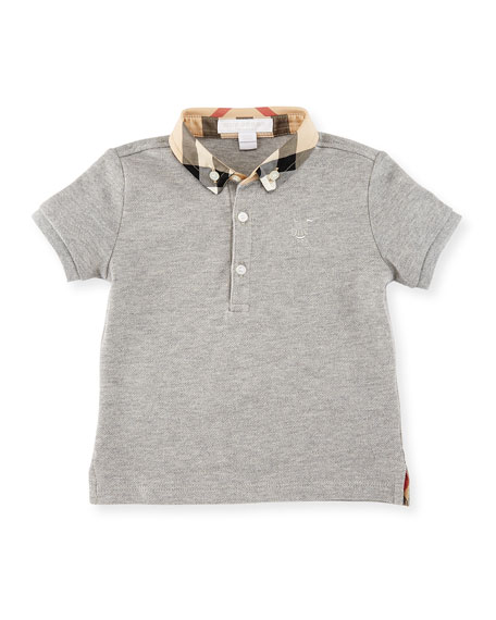 Burberry Mini William Check-Collar Pique Polo Shirt, Pale