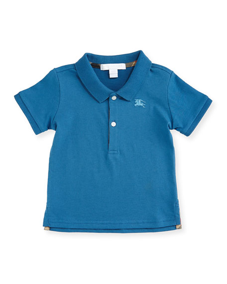 Burberry Palmer Pique Polo Shirt, Lupin Blue, Size