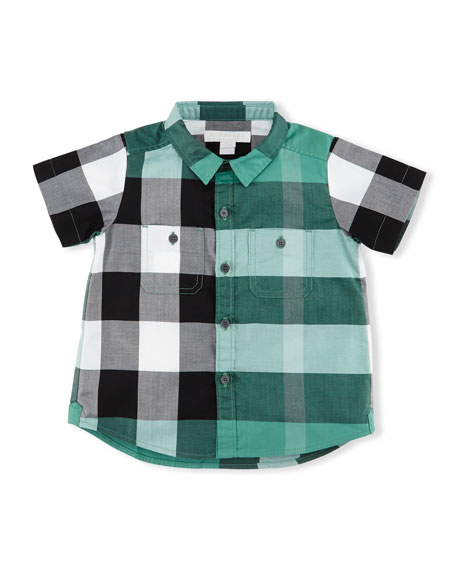 Mini Camber Short-Sleeve Check Shirt, Aqua Green, Size 6M-3