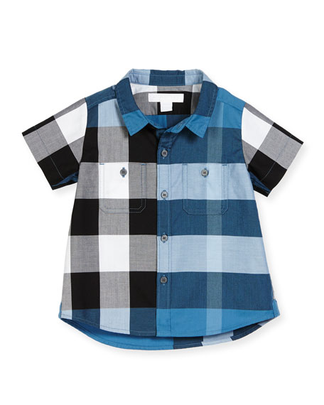 Mini Camber Short-Sleeve Check Shirt, Lupin Blue, Size 6M-3