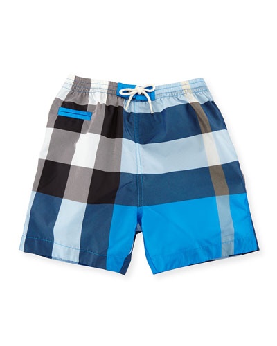 Saxon Check Swim Trunks, Cerulean Blue, Size 6M-3