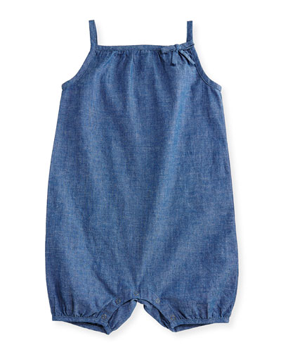 Madalyn Chambray Bubble Playsuit, Stone Blue, Size 6M-3