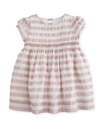 Marielle Striped Silk Dress, Light Copper Pink, Size 6M-3
