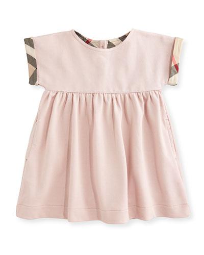 Jen Cap-Sleeve Pique Dress, Chalk Pink, Size 6M-3