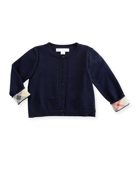 Burberry Rheta Cotton Button-Front Cardigan, Navy, Size 6M-3