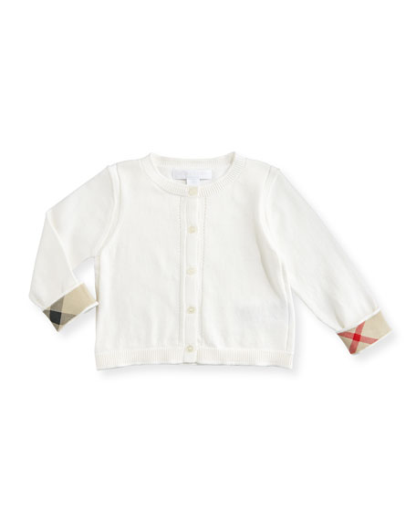 Burberry Rheta Cotton Button-Front Cardigan, White, Size 6M-3
