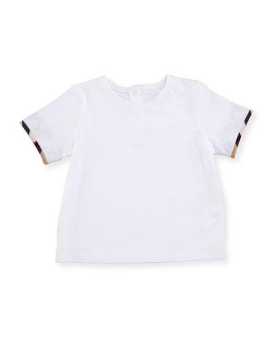 Mini Tulisa Cotton Check-Trim Tee, White, Size 6M-3