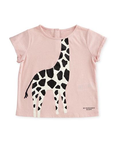 Cotton Giraffe Jersey Tee, Light Pink, Size 6M-3
