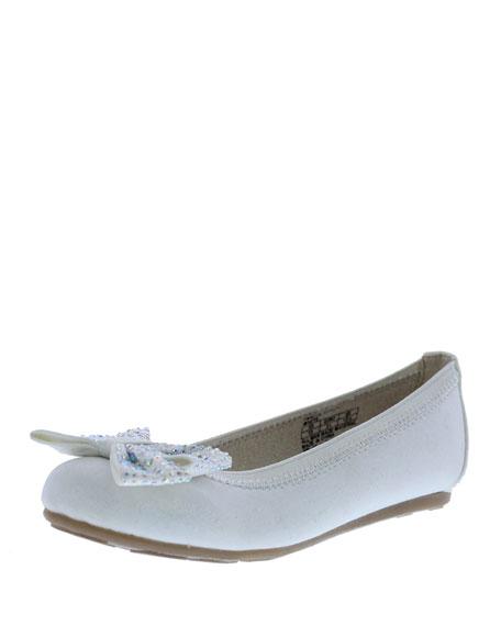 Stuart Weitzman Fannie Jeweled-Bow Faux-Leather Ballet Flat,