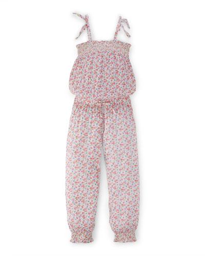Floral Crinkle Gauze Romper, Pink/Multicolor, Size 2-6X